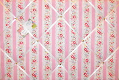 Large Cath Kidston Lace Stripe Hand Crafted Fabric Notice / Pin / Memo Boar