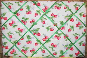 Large Cath Kidston White Strawberry Hand Crafted Fabric Notice / Pin / Memo