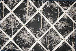 Large Laura Ashley Silver Birch Hand Crafted Fabric Notice / Pin / Memo Boa