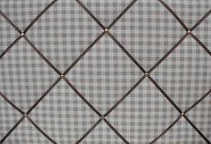 Large Laura Ashley Taupe / Linen Gingham Hand Crafted Fabric Notice / Pin /