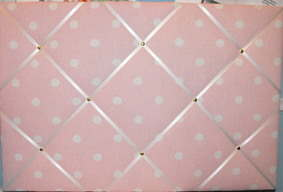 Large Laura Ashley Pink Polka Dot Hand Crafted Fabric Notice / Pin / Memo B