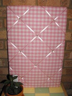 Large Laura Ashley Pink Gingham Hand Crafted Fabric Notice / Pin / Memo Boa