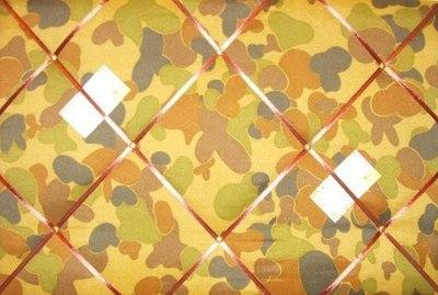 Large Army / Camouflage Hand Crafted Fabric Notice / Pin / Memo / Memory Bo