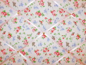 Medium Cath Kidston Bird Hand Crafted Fabric Notice / Pin / Memo Board