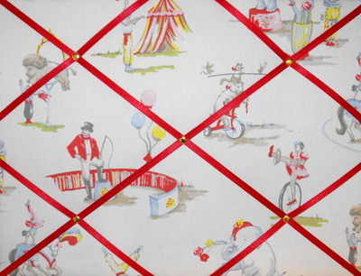Medium Cath Kidston Circus Hand Crafted Fabric Notice / Pin / Memo Board