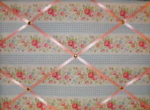 Medium Cath Kidston Blue Floral Gingham Hand Crafted Fabric Notice / Pin /