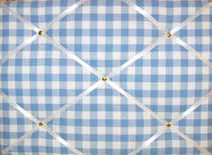 Medium Laura Ashley Blue Gingham Hand Crafted Fabric Notice / Pin / Memo Bo
