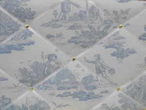 Medium Laura Ashley Blue Toile Hand Crafted Fabric Notice / Pin / Memo Boar