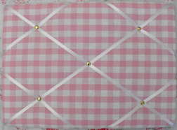Medium Laura Ashley Pink Gingham Hand Crafted Fabric Notice / Pin / Memo Bo