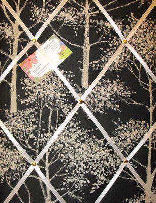 Medium Laura Ashley Silver Birch Hand Crafted Fabric Notice / Pin / Memo Bo
