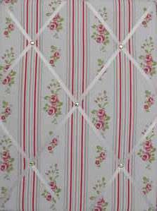 Medium Clarke & Clarke Floral Stripe Hand Crafted Fabric Notice / Memory /