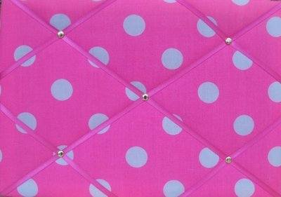 Medium Bright Pink & White Spot Hand Crafted Fabric Notice / Memory / Pin /