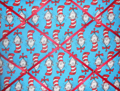 Medium Dr Suess Cat in the Hat Hand Crafted Fabric Notice / Memory / Pin /