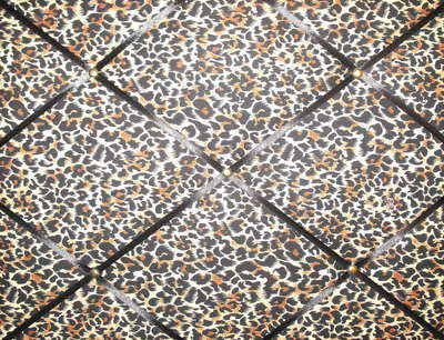 Medium Leopard Print Hand Crafted Fabric Notice / Pin / Memo / Memory Board