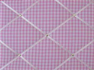 Medium Pink & White Gingham Hand Crafted Fabric Notice / Memory / Pin / Mem