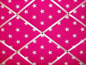 Medium Pink & White Star Hand Crafted Fabric Notice / Memory / Pin / Memo B