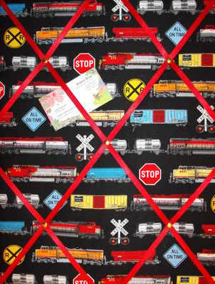 Medium Trains in Motion Hand Crafted Fabric Notice / Memory / Pin / Memo Bo