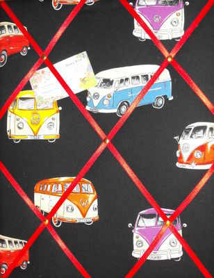 Medium VW Camper on Tour Hand Crafted Fabric Notice / Memory / Pin / Memo B