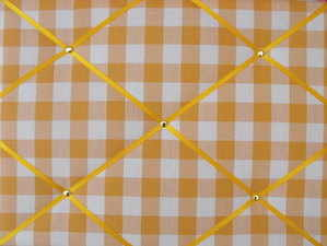 Medium Yellow / Gold Gingham Hand Crafted Fabric Notice / Memory / Pin / Me