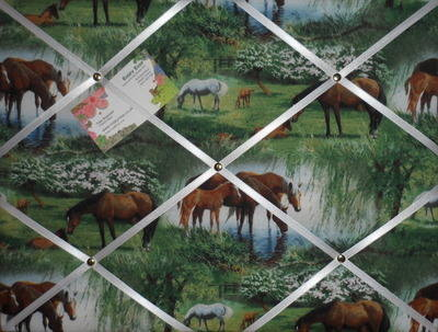 Wild Horse Scene Hand Crafted Fabric Notice / Pin / Memo / Memory Board