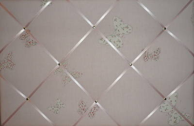 Large Laura Ashley Pink Bella Butterfly Hand Crafted Fabric Notice / Pin /