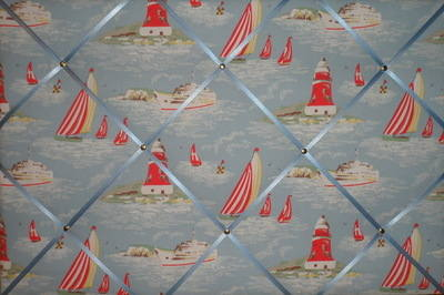 Large Cath Kidston Blue Boat Hand Crafted Fabric Notice / Pin / Memo Board
