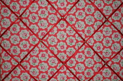 Large Cath Kidston Red Provence Rose Hand Crafted Fabric Notice / Pin / Mem