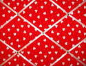 Medium Red & White Heart Hand Crafted Fabric Notice / Memory / Pin / Memo Board