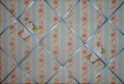 Large Cath Kidston Blue Floral Gingham Hand Crafted Fabric Notice / Pin / M