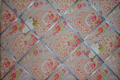 Large Cath Kidston Blue Paisley Hand Crafted Fabric Notice / Pin / Memo Boa
