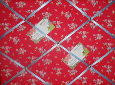 Medium Cath Kidston Red Sprig Hand Crafted Fabric Notice / Pin / Memo Board