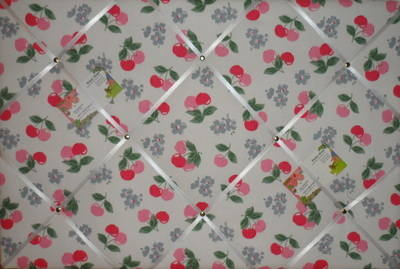 Large Cath Kidston White Cherry Hand Crafted Fabric Notice / Pin / Memo Boa