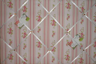 Large Clarke & Clarke Pink Floral Stripe Hand Crafted Fabric Notice / Memor