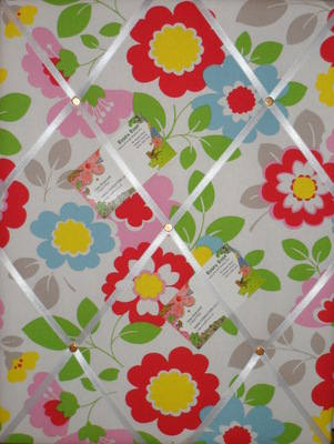 Medium Cath Kidston Circus Flowers Hand Crafted Fabric Notice / Pin / Memo