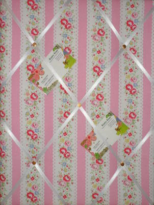 Medium Cath Kidston Pink Lace Stripe Hand Crafted Fabric Notice / Pin / Mem