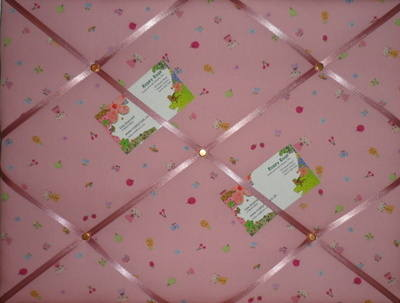 Medium Pink Cats with Fruit & Flowers Hand Crafted Fabric Memory / Notice /