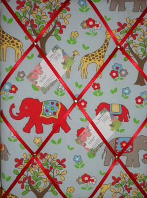 Medium Cath Kidston Blue Circus Elephant Hand Crafted Fabric Notice / Pin /