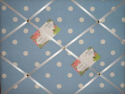 Medium Cath Kidston Blue Spot Hand Crafted Fabric Notice / Pin / Memo Board