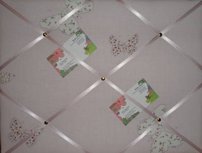 Medium Laura Ashley Pink Bella Butterfly Hand Crafted Fabric Notice / Pin /