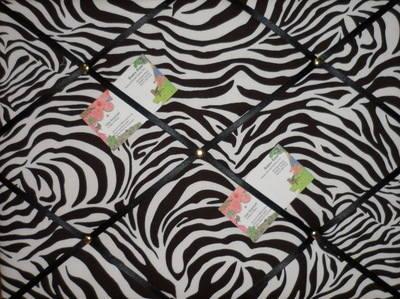 Medium Zebra Print Hand Crafted Fabric Notice / Pin / Memo / Memory Board