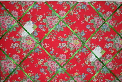 Large Cath Kidston Red Folk Flowers Hand Crafted Fabric Notice / Pin / Memo