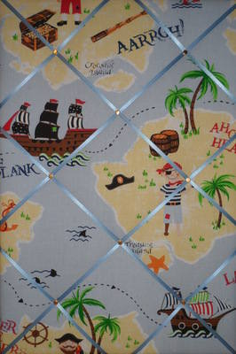 Large Laura Ashley Pirate Treasure Island Hand Crafted Fabric Notice / Pin