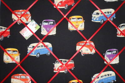 Large VW Camper on Tour Hand Crafted Fabric Notice / Memory / Pin / Memo Bo