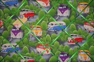 Large VW Camper Green Bush Hand Crafted Fabric Notice / Memory / Pin / Memo