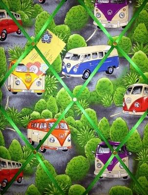 Medium VW Camper Green Bush Hand Crafted Fabric Notice / Memory / Pin / Mem