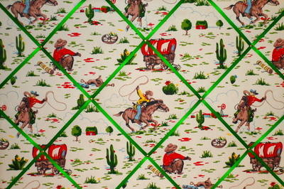 Extra Large Cath Kidston Cowboy Fabric Notice / Pin / Memo / Memory Board