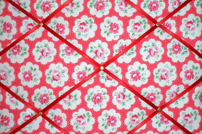 Medium Cath Kidston Red Provence Rose Hand Crafted Fabric Notice / Pin / Me