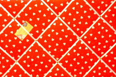Large Red & White Heart Hand Crafted Fabric Notice / Pin / Memo Board
