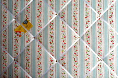 Large Cath Kidston Blue Tea Rose Stripe Hand Crafted Fabric Notice / Pin /