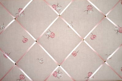 Large Laura Ashley Pink Flower / Floral Hand Crafted Fabric Notice / Pin /